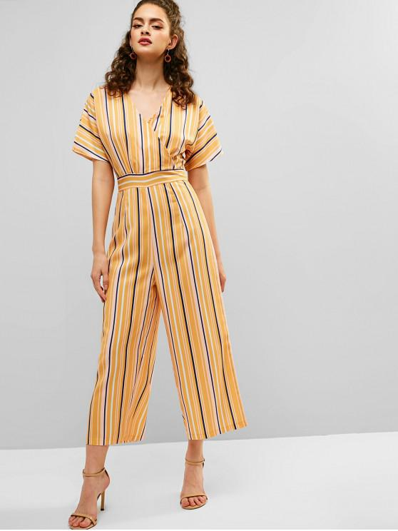 women's Stripe Print Surplice Ninth Jumpsuit - SUN YELLOW L
