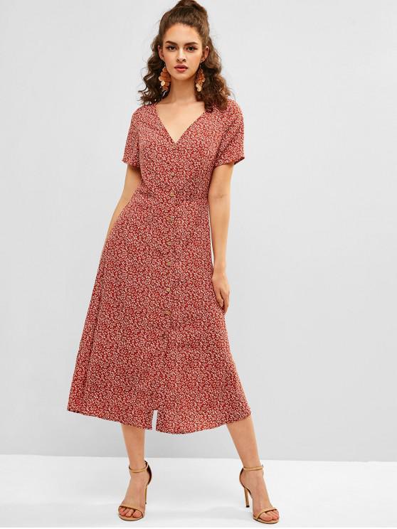 hot ZAFUL Tiny Floral Tea Dress - CHESTNUT RED L