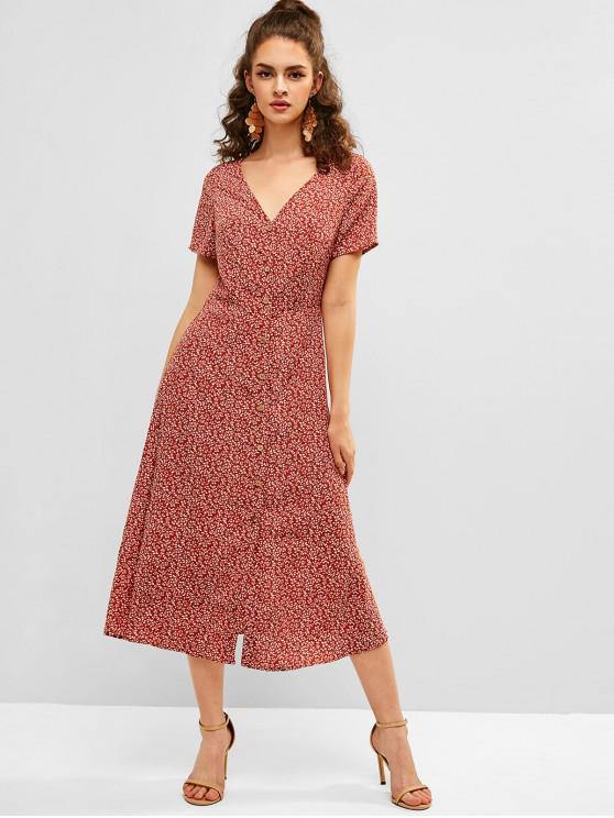 latest Tiny Floral Tea Dress - CHESTNUT RED S