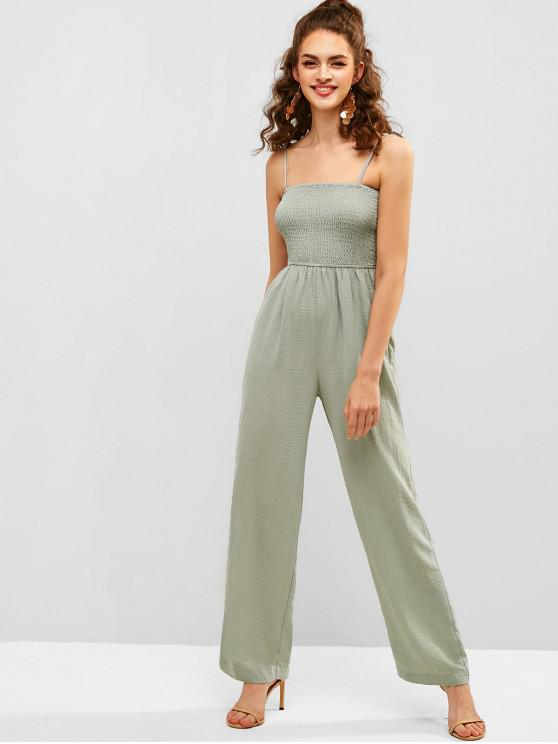 new ZAFUL Shirred Wide Leg Jumpsuit - DARK SEA GREEN M