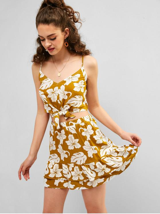 affordable ZAFUL Smocked Flower Cami Top and Skirt Set - GOLDENROD M