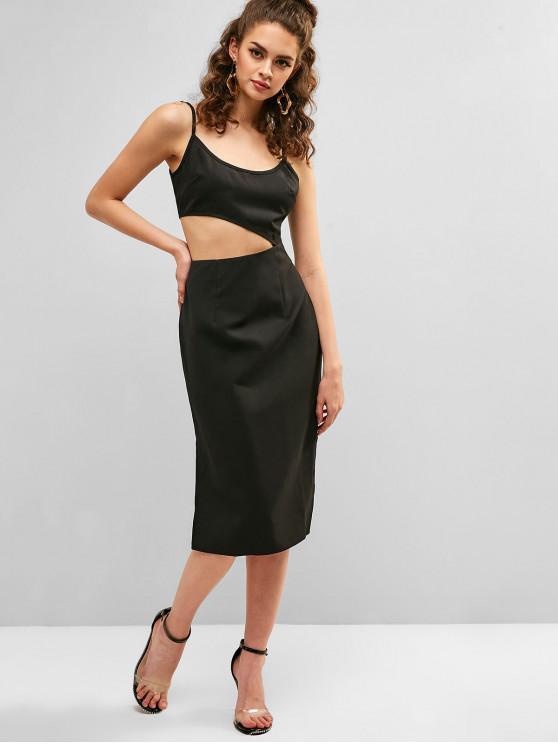 trendy ZAFUL Cutout Slit Sheath Dress - BLACK XL