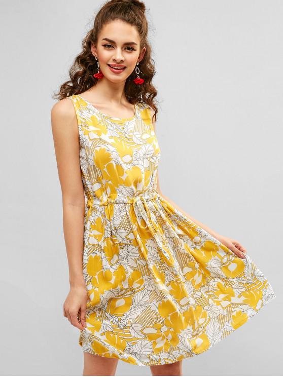 new Printed Drawstring Mini Tank Dress - YELLOW M