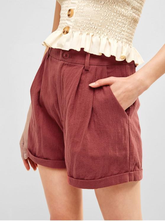 chic ZAFUL Zip Fly Rolled Hem Casual Shorts - CHERRY RED S