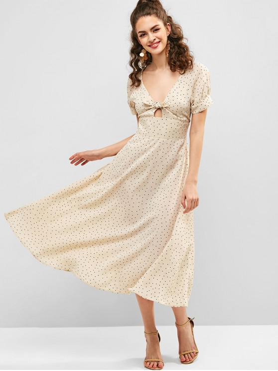 affordable ZAFUL Knot Polka Dot Dress - WARM WHITE M