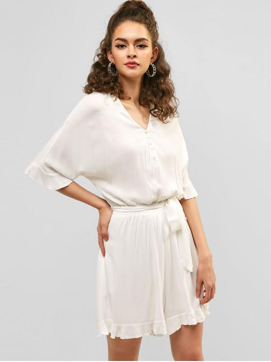 b225f2e6b53d0 29% OFF   NEW  2019 V Neck Ruffle Belted Romper In WHITE