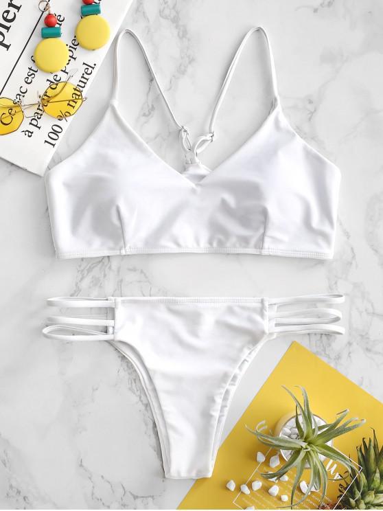 fashion ZAFUL Ladder Cutout Bikini Set - WHITE L