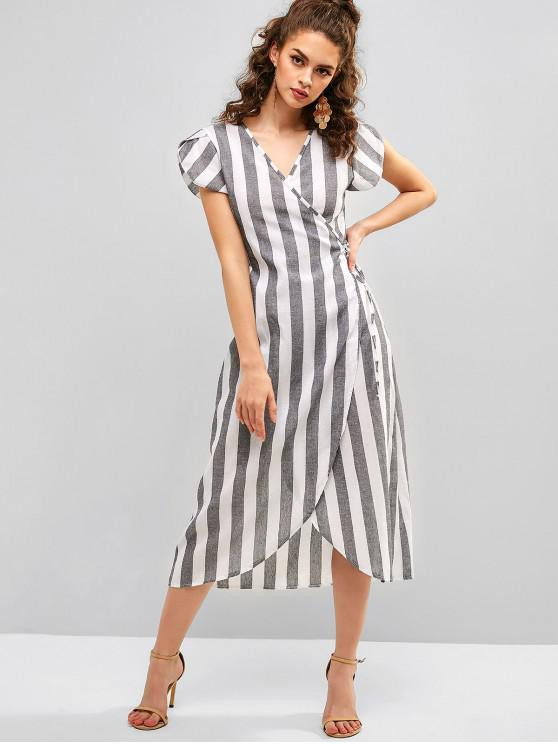 fancy Short Sleeve Stripes Wrap Dress - MULTI M