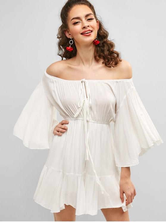 unique Flare Sleeve Knotted Off Shoulder Romper - WHITE L