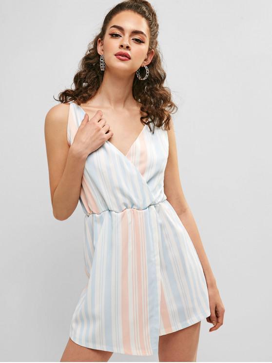 shops Overlap Stripes Cami Romper - WHITE M