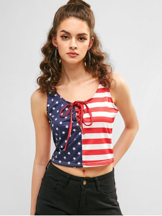 online Patriotic American Flag Lace Up Tank Top - MULTI-A S