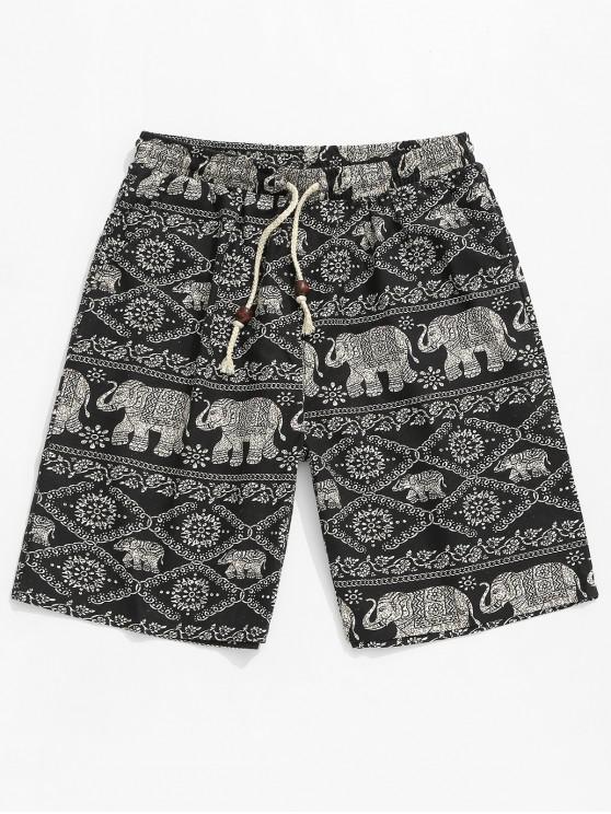 fancy Floral Elephant Tribal Print Shorts - BLACK M