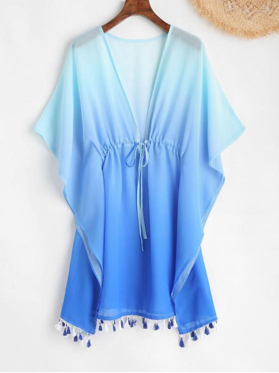trendy Ombre Tassel Plunging Poncho Dress - OCEAN BLUE ONE SIZE