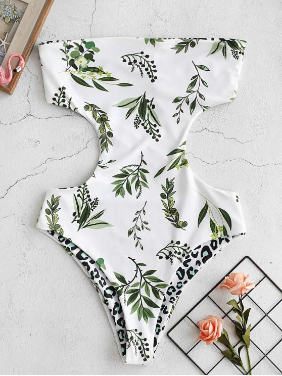 shops ZAFUL Leaf Leopard Reversible Monokini - WHITE S