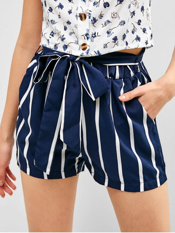trendy Striped High Waisted Belted Shorts - MULTI-A XL