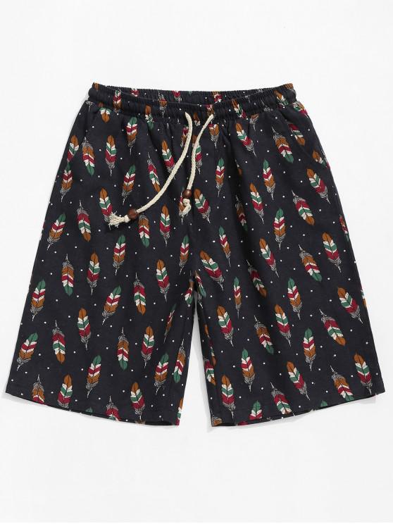fancy Polka Dots Feather Print Drawstring Shorts - MULTI 4XL
