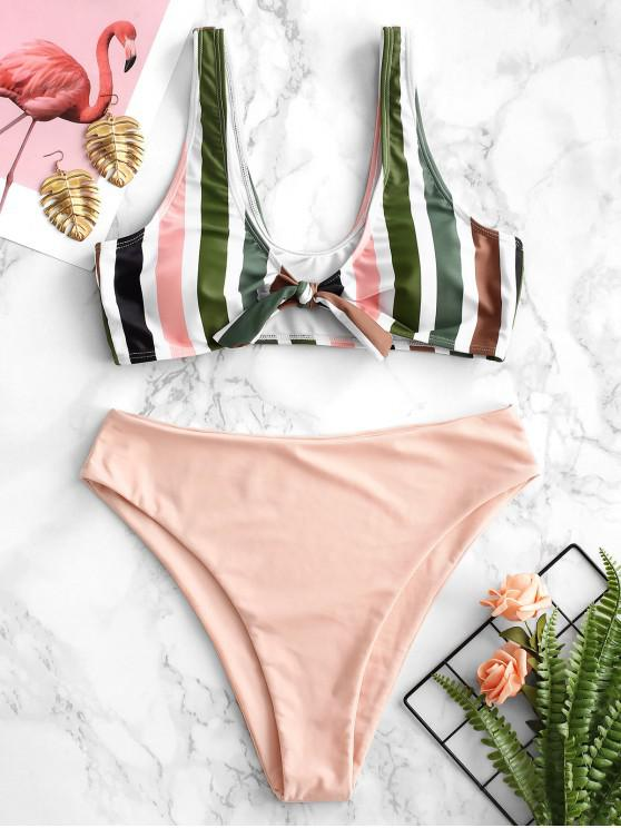 best ZAFUL Colorful Striped High Waisted Bikini Set - PIG PINK L