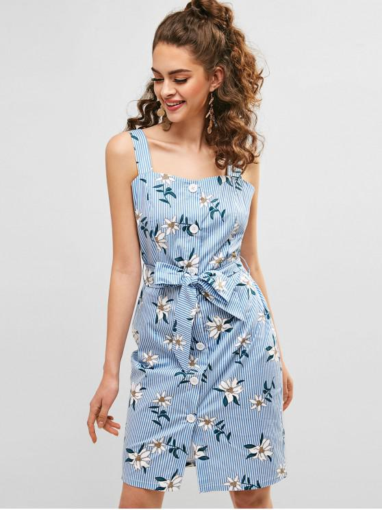ZAFUL gestreiftes Kleid mit Blumenknöpfen - Multi-A L