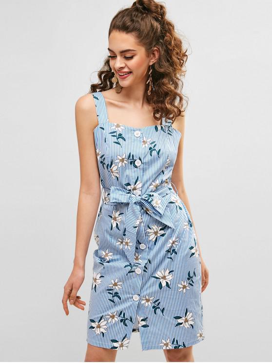 ZAFUL gestreiftes Kleid mit Blumenknöpfen - Multi-A M