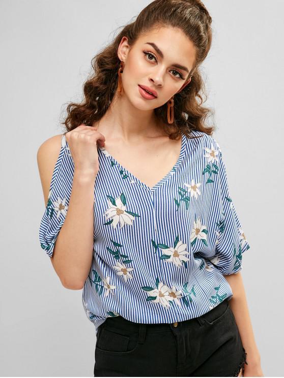 ladies Cold Shoulder Striped Floral Print Blouse - DENIM BLUE XL