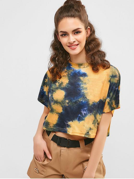 shop Tie Dye Batwing Sleeve Crop T-shirt - GOLDENROD XL
