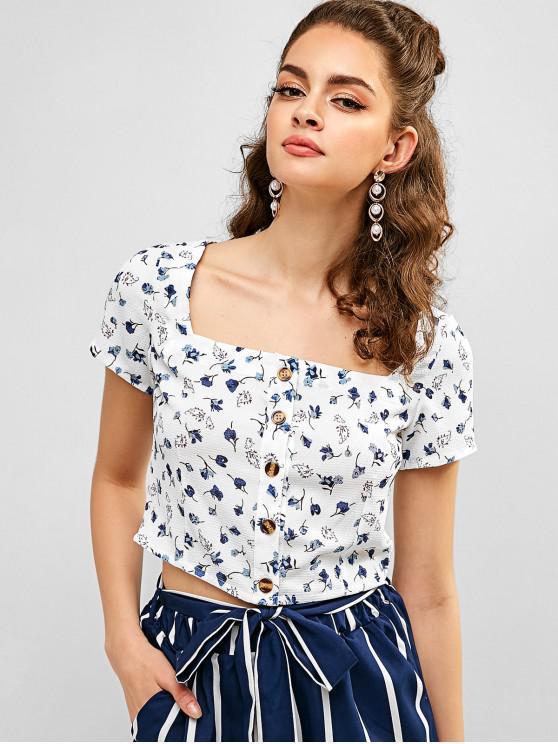 shops Floral Print Buttoned Crop Blouse - WHITE S