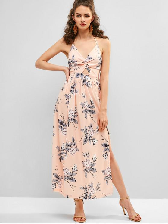 fashion Floral Print Slit Twisted Maxi Dress - MULTI S
