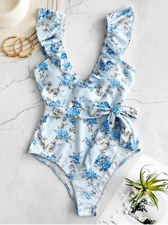 fashion ZAFUL Ruffle Floral One-piece Swimsuit - JEANS BLUE XL