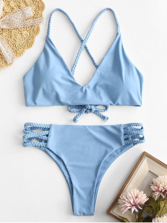 latest ZAFUL Braided Criss Cross Bikini Set - LIGHT BLUE M