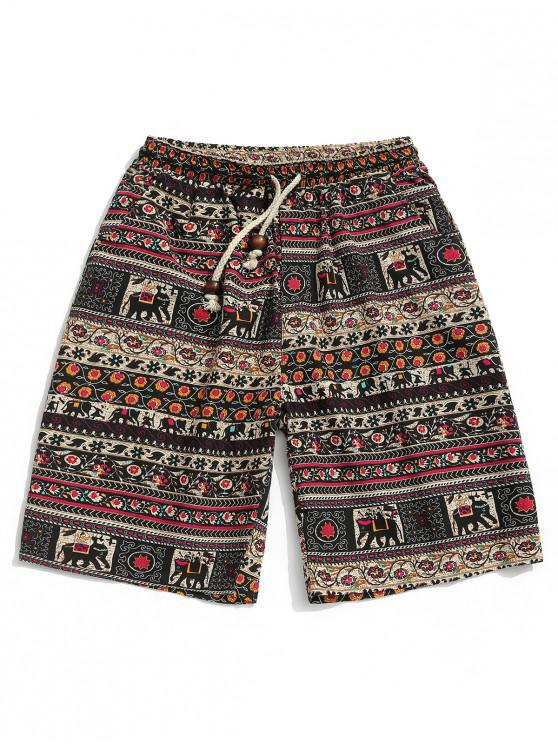 trendy Floral Graphic Tribal Print Drawstring Shorts - MULTI L