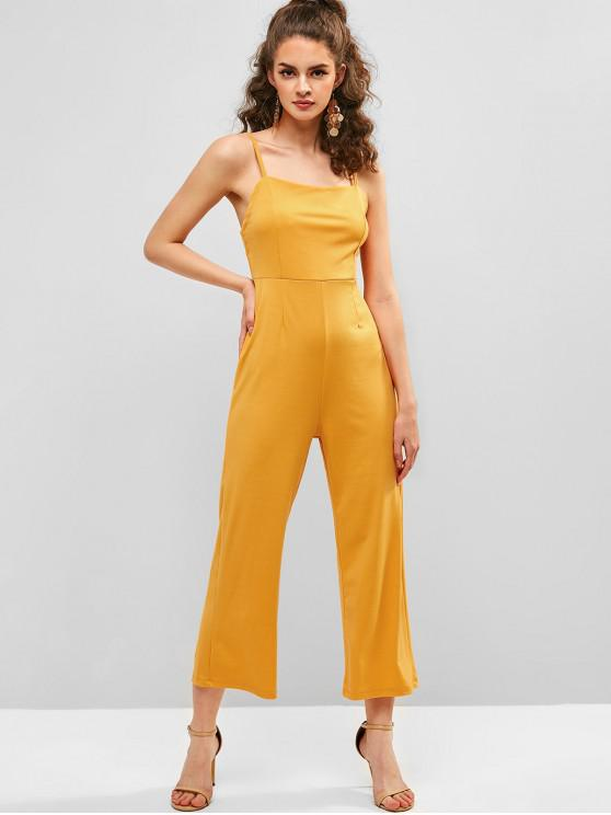 new Solid Color Zipper Cami Jumpsuit - YELLOW S