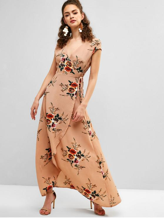 women Floral Print Asymmetrical Maxi Wrap Dress - DEEP PEACH S