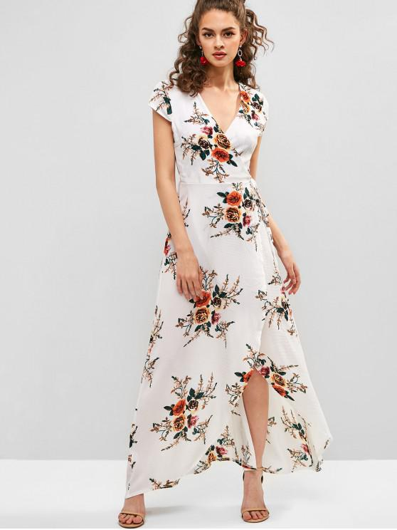 chic Floral Print V Neck Maxi Wrap Dress - WHITE 2XL
