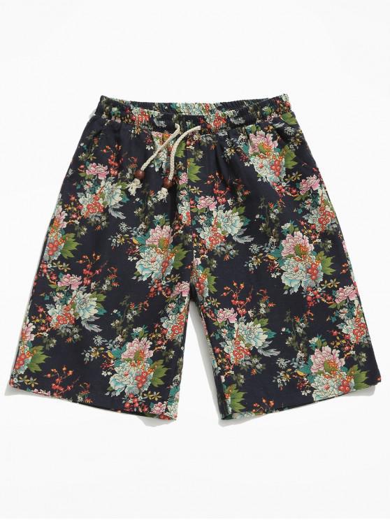 women Allover Flower Print Shorts - MULTI 4XL