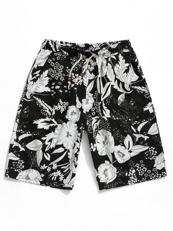 Flor pintura impresa pantalones cortos casuales - Multicolor XL