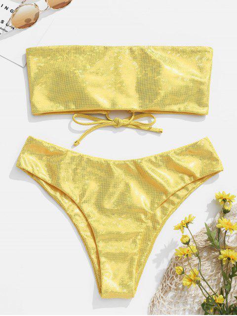 chic ZAFUL Glitter Lace Up Bandeau Bikini Set - YELLOW L Mobile