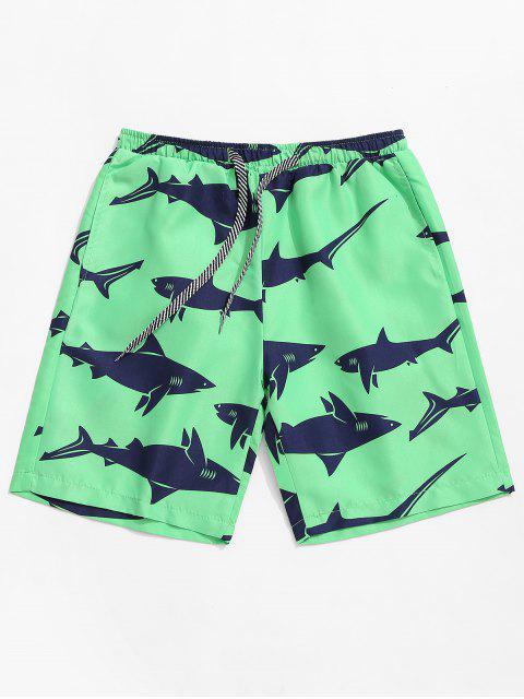 outfits Shark Print Drawstring Beach Shorts - DARK TURQUOISE L Mobile