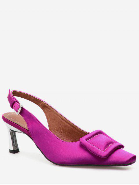 chic Square Toe Buckle Slingback Pumps - ROSE RED EU 39 Mobile