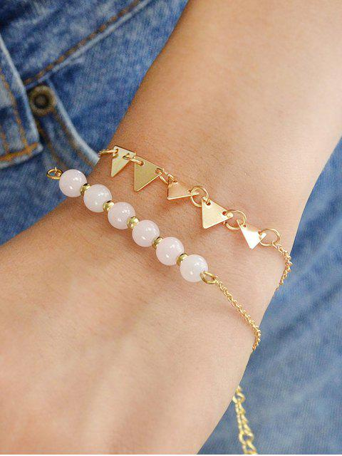 sale 5Pcs Triangle Beads Bracelet Set - GOLD  Mobile