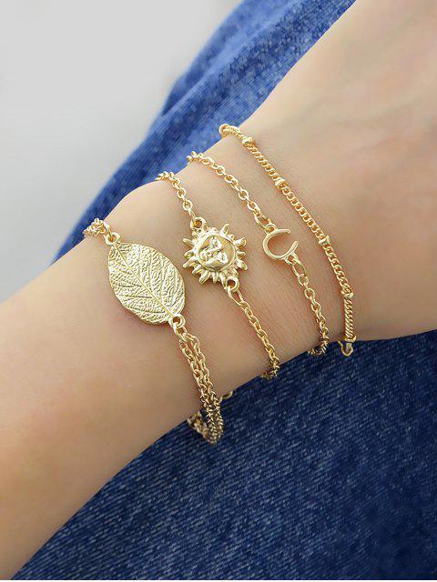 hot 4Pcs Leaf Sun Horseshoe Bracelet Set - GOLD  Mobile