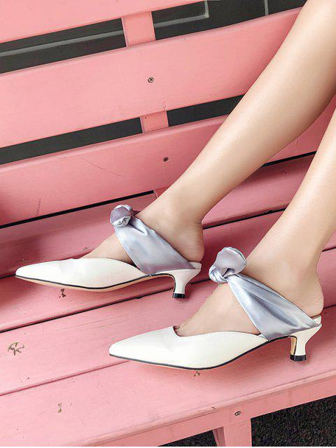 fashion Pointed Toe Contrast Bow Slides - GRAY EU 39 Mobile