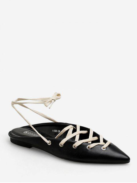 women's Pointed Toe Lace Up Flat Shoes - BLACK EU 36 Mobile