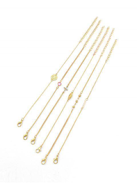trendy 6Pcs Hollow Cross Bracelet Set - GOLD  Mobile