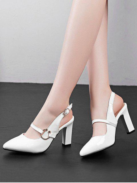 affordable Pointed Toe Patent Leather Slingback Sandals - WHITE EU 40 Mobile