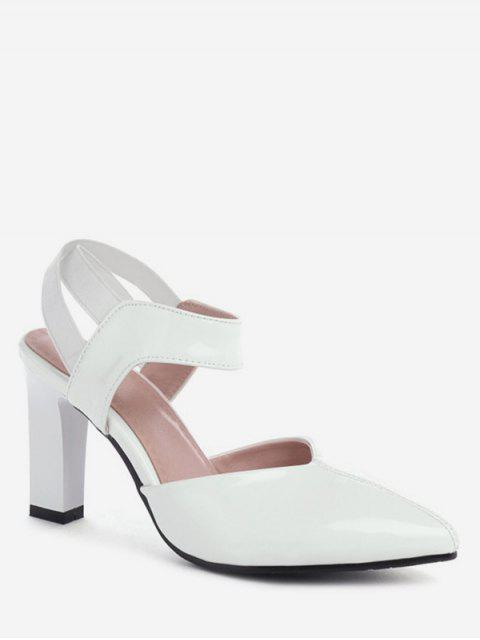 outfit Patent Leather Pointed Poe Heeled Sandals - WHITE EU 39 Mobile
