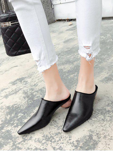 chic Pointed Toe Strange Heel Half Slides - BLACK EU 35 Mobile