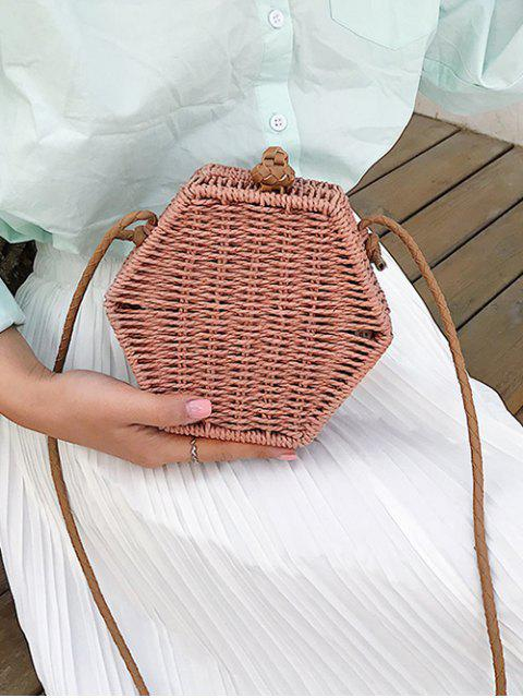 hot Personality Hexagon Straw Crossbody Bag - BROWN  Mobile