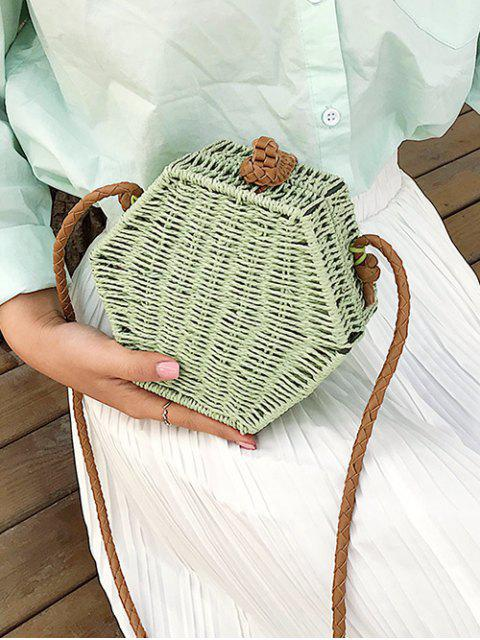 shop Personality Hexagon Straw Crossbody Bag - DARK SEA GREEN  Mobile