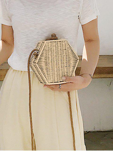 sale Personality Hexagon Straw Crossbody Bag - BEIGE  Mobile
