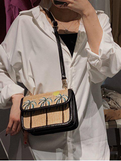 ladies Coconut Tree Pattern Crossbody Bag - BLACK  Mobile